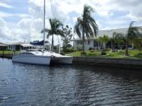 Catamaran docked along Alligator Creek