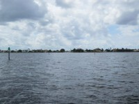 View of outer channel entrance to Yacht Club canal system- known as Pompano Inlet