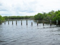 The old barge canal is now blocked off by pilings.