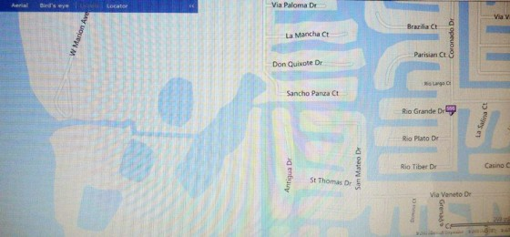 Map of canal - Ponce de Leon entrance to end of Rio Grande Dr.
