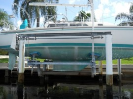Many sailors in the Punta Gorda area keep their boats on boatlifts.
