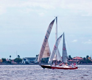 A ketch sails in Charlotte Harbor